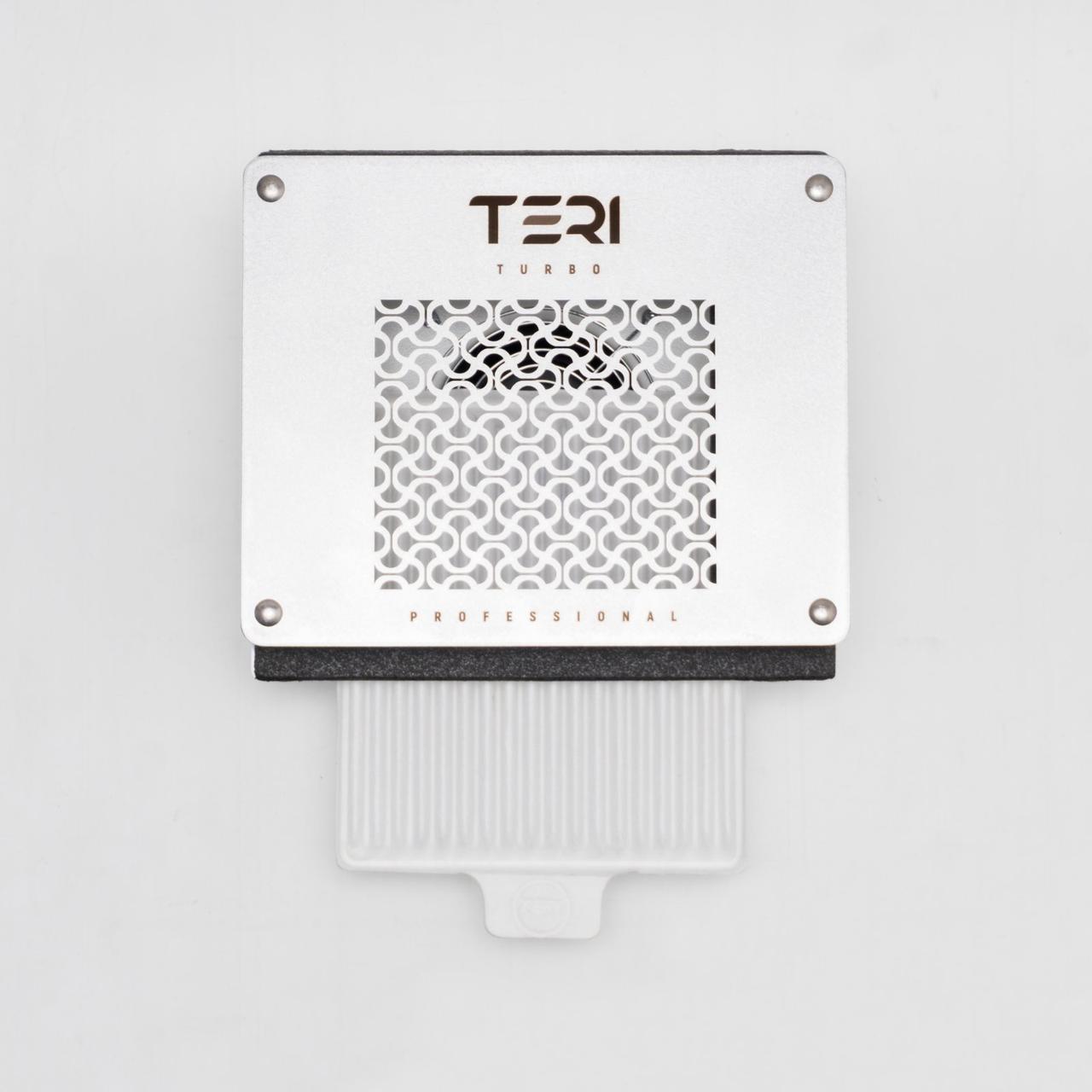 Teri Turbo встраиваемая в стол маникюрная вытяжка с HEPA фильтром, сетка белая нержавейка без рисунка