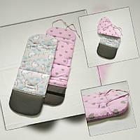 Матрасик вкладка в коляску стандарт masterwork unicorn 34*87 см. серый с розовым