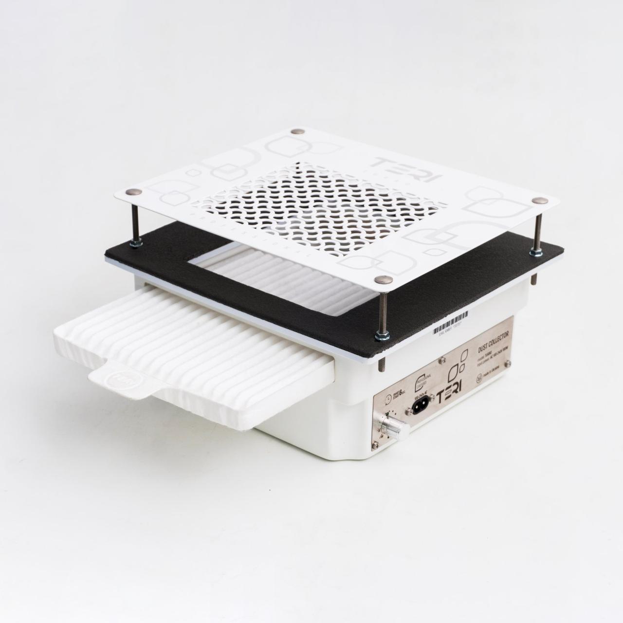 Teri Turbo встраиваемая в стол маникюрная вытяжка с HEPA фильтром, сетка белая нержавейка c рисунком