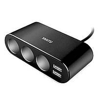 Разветвитель для прикуривателя Yantu B08 Black 2 USB 3 авто разъема электронный смарт - чип материал Al + ABS