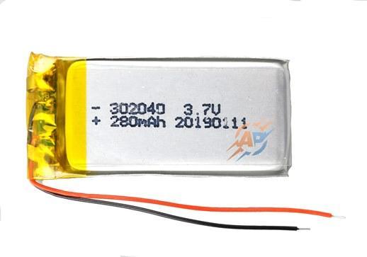 Аккумулятор 280mAh 3.7v 302040 для видеорегистраторов, наушников, блютуз гарнитур, MP3 плееров