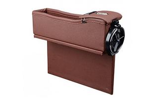 Органайзер в авто между консолью сиденьем  в машину, цвет черный и коричневый + подарок, фото 2