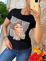 Футболка черная женская с модным принтом в стиле Fendi