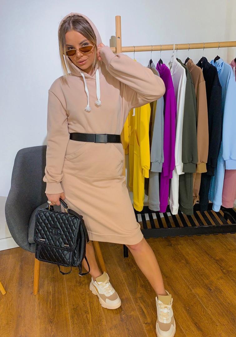 Женское модное платье- худи с капюшоном,бежевого цвета