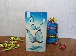 Пластиковый бампер чехол с рисунком для Lenovo A7000 K3 Note Бабочки