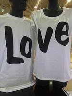 Парные футболки, надпись Любовь, футболки для двоих Love