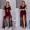 Женский велюровый халат топ с отделкой французского кружева и  шорты 42-44, 46-48, 50-52, 54-56, фото 3