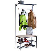 Вешалка 3-в-1 для верхней одежды со скамейкой, полкой для головных уборов и стойкой для обуви
