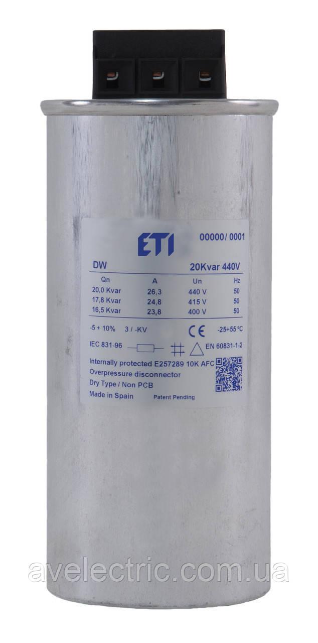 Конденсатор для компенсации реактивной мощности LPC-DW 20 kVAr, 400V, 50Hz, ETI, 465854