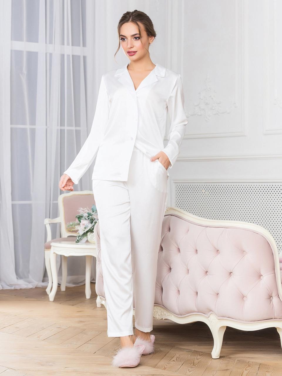 Пижама с брюками белая шелковая