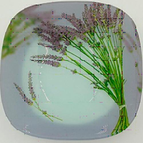 Тарелка  стекло 200мм квадратная мелкая Прованс /уп. 6шт