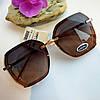 Модные женские солнцезащитные очки многоугольные коричневые