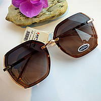 Модные женские солнцезащитные очки многоугольные коричневые, фото 1