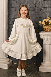 Платье Пион молочное
