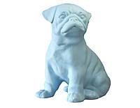 Декоративный Мопс керамика, декор для дома, Мопс, голубой матовый(00654)