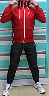 Мужской красный спортивный костюм Puma плащевка c капюшоном (Реплика)