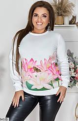 Женский свитер XL+ белый с рисунком 64515