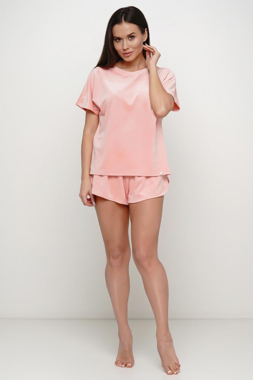 Бархатная персиковая  женская  пижама