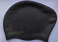 Силиконовая женская шапочка для длинных волос для бассейна и плавания Черный