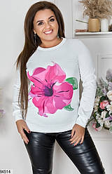 Женский свитер XL+ белый с рисунком 64514