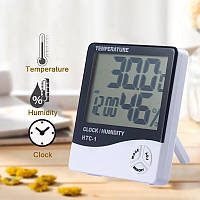 Гигрометр - термометр - часы (3 в 1), белый, фото 1