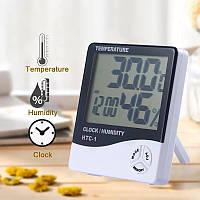 Гігрометр - термометр - годинник (3 в 1), білий