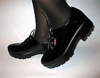 Лаковые туфли на шнурке на толстой подошве