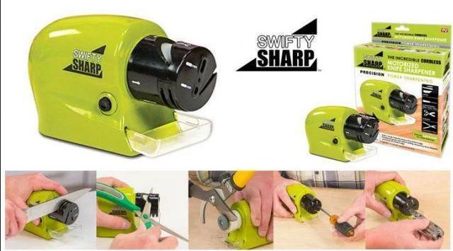 Беспроводная ножеточка Swifty Sharp Motorized Knife Sharpener   Точилка для ножей и ножниц, фото 2