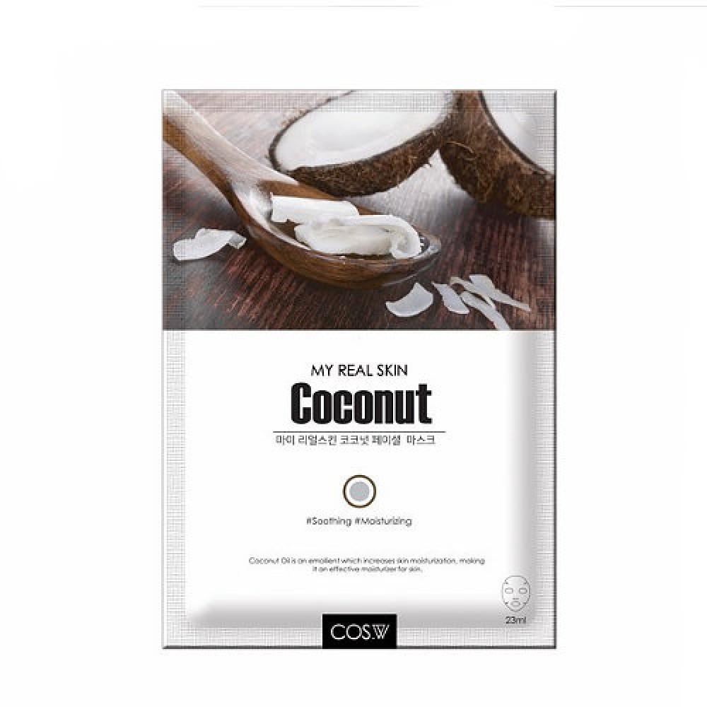 COS.W Тканевая маска с кокосовым маслом My Real Skin Coconut Facial Mask
