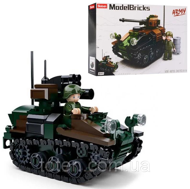 """Конструктор Sluban m38-b0750 """"Военный танк 2в1"""" 245 дет 10-16"""