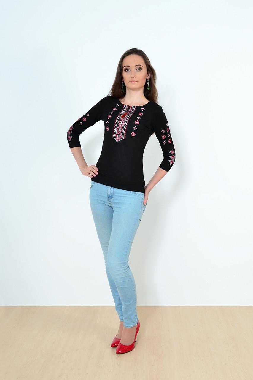 38acff69cc9d5 Модная молодежная вишиванка черного цвета с красным орнаментом рукав 3/4 -  Оптово-розничный