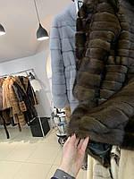 Стильная фирменная норковая шуба полушубок поперечка 44 46