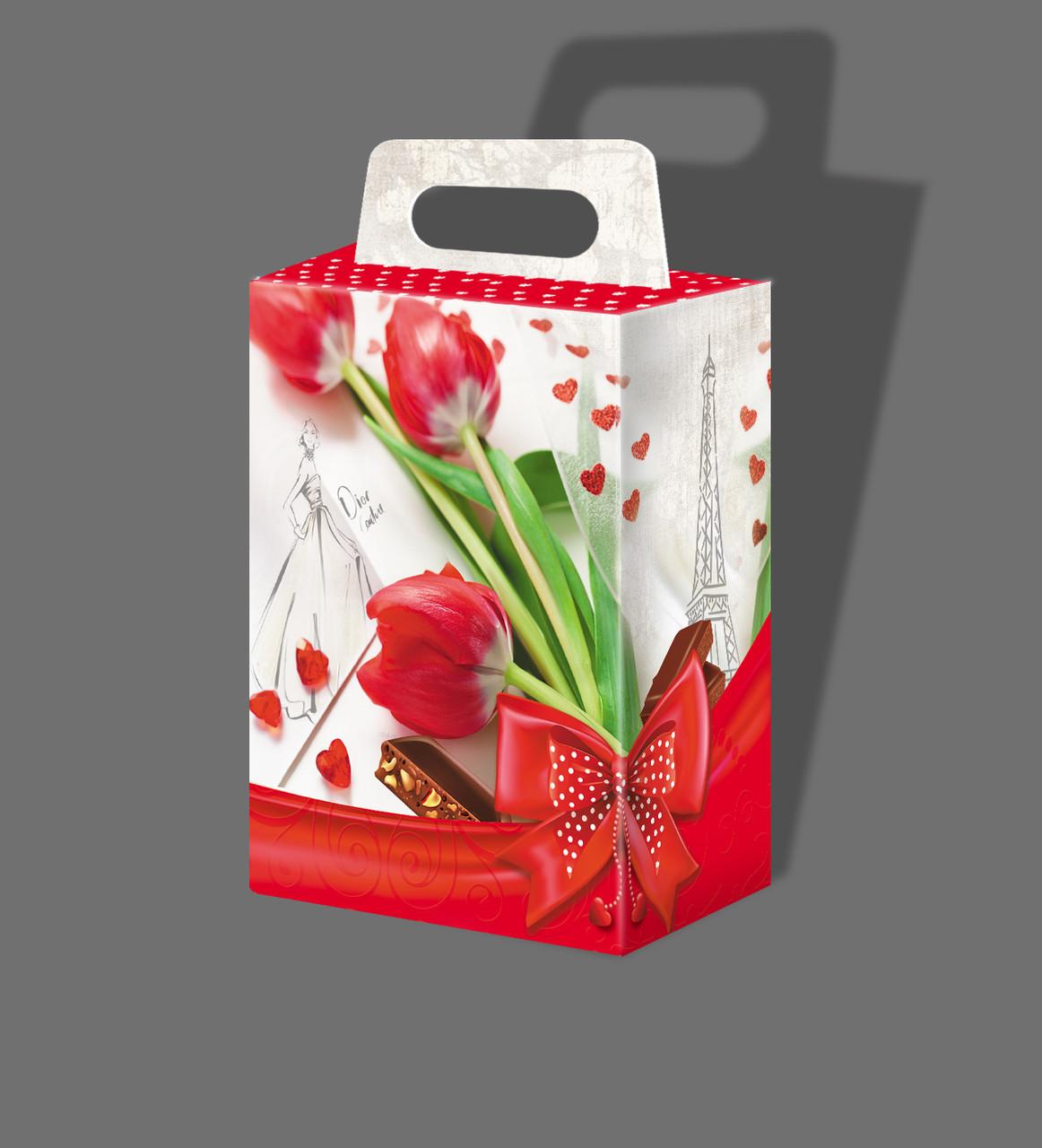 Коробка Сумочкас тюльпанами к 8 марта 1018