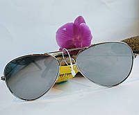 Солнцезащитные очки авиаторы унисекс черные зеркальные, фото 1