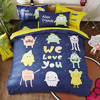 Полуторный комплект постельного белья Alien friends (хлопок), фото 1