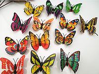 """Наклейка на стену, украшения стены наклейки """" наклейки бабочки 3D с двойными крыльями 7см"""" цена за 1 шт"""
