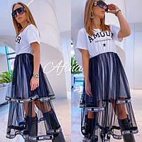 Молодежное летнее стильное платье с пышной сеткой (2расцв) 42-44-46р., фото 1