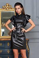 Стильное Кожаное Платье-Футляр с Шикарными Воланами Черное S-XL