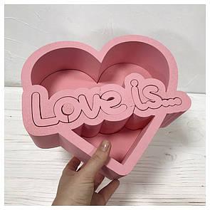 Пенобокс для цветов - Love is 25*22*10 см - крашеный розовый