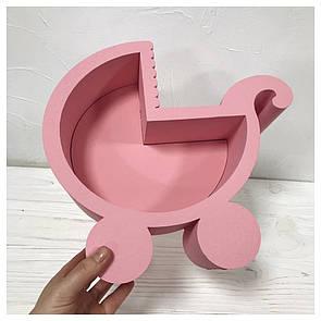 Пенобокс для цветов - Коляска 29*27*10 см - крашеный розовый