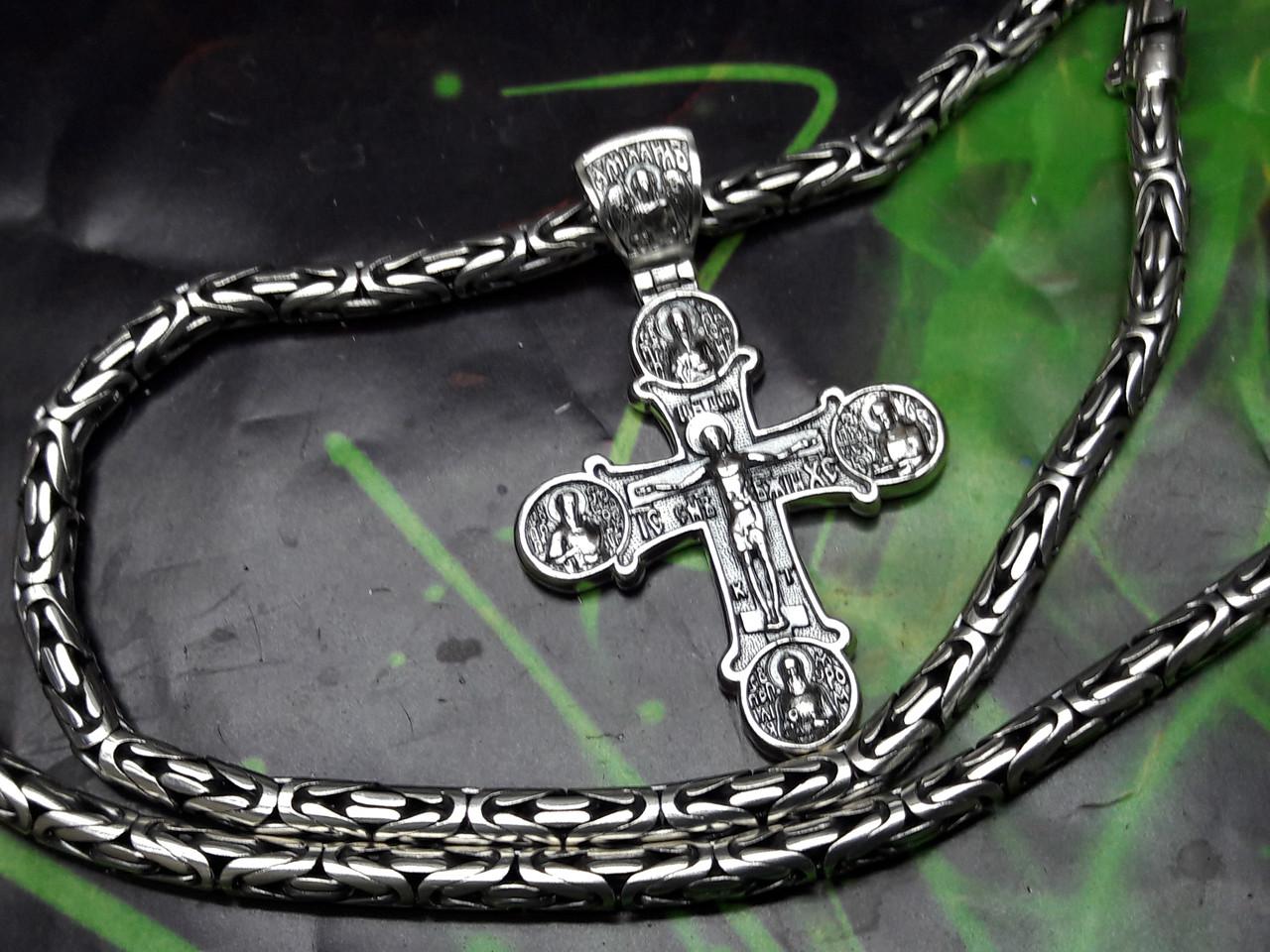 Серебряная цепочка Кинг с крестом