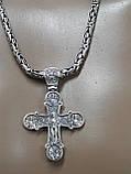 Серебряная цепочка Кинг с крестом, фото 2