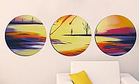 Картина из нескольких частей Круглая 3 модуля Абстракция