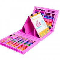 Набор для рисования с мольбертом юного художника предметы в чемоданчике 176 шт (голубой, розовый)