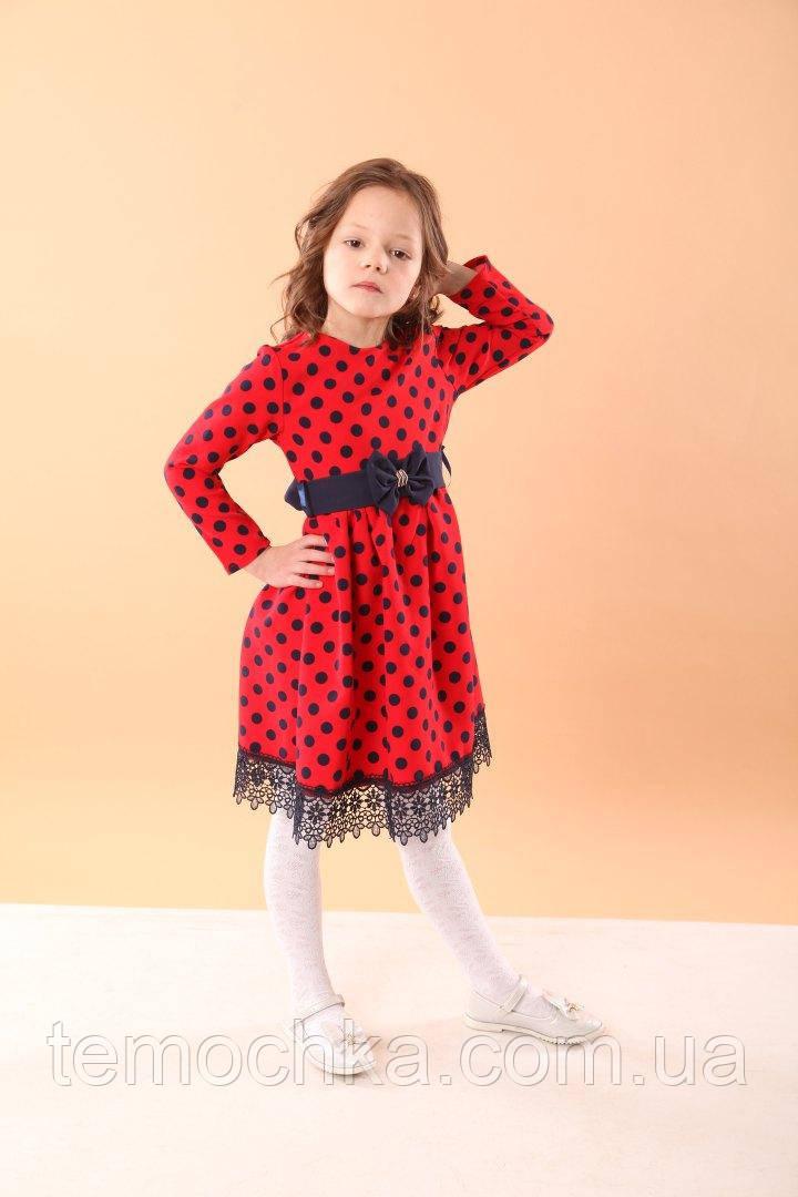 Платье для девочки в горошек нарядное красное лазурное розовое