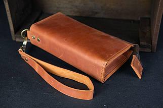 Кошелек клатч Тревел с ремешком Винтажная кожа цвет коньяк, фото 2
