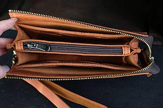 Кошелек клатч Тревел с ремешком Винтажная кожа цвет коньяк, фото 3