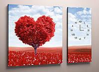 Часы настенные картина холст сердце