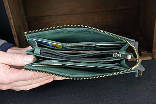 Кошелек клатч Тревел с ремешком Винтажная кожа цвет зеленый, фото 3
