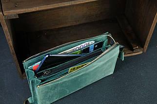 Кошелек клатч Тревел с ремешком Винтажная кожа цвет зеленый, фото 2